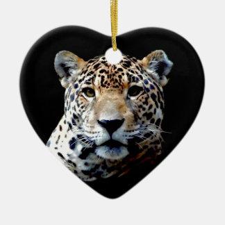 Jaguar Double-Sided Heart Ceramic Christmas Ornament