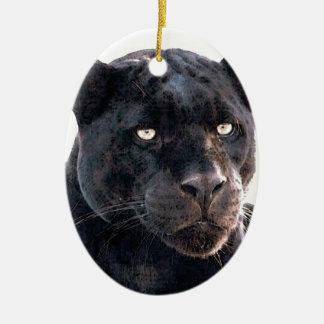 Jaguar Double-Sided Oval Ceramic Christmas Ornament