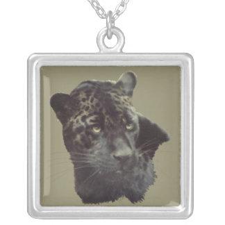 Jaguar painting square pendant necklace