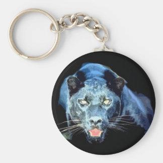 Jaguar - pantera negra llavero redondo tipo pin