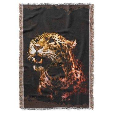 Aztec Themed Jaguar Panther Artwork Throw