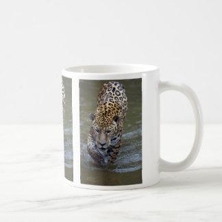 Jaguar (Panthera onca) in muddy river Coffee Mug