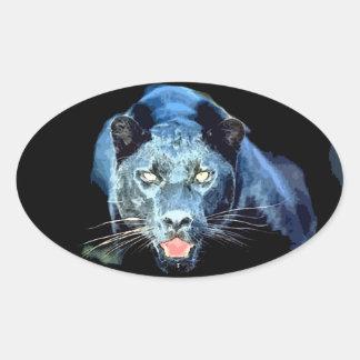 Jaguar - pegatinas del óvalo del gato de pantera pegatina ovalada