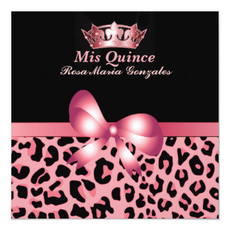 Jaguar Print & Crown Quinceañera Invitation