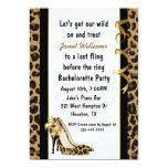 "Jaguar Print High Heels Bachelorette Party 5"" X 7"" Invitation Card"