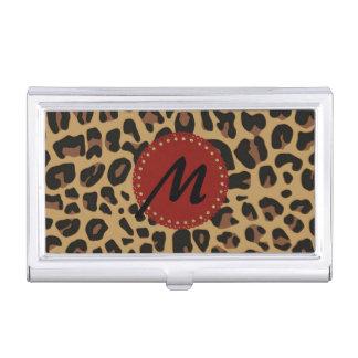 Jaguar Print Monogram Business Card Case