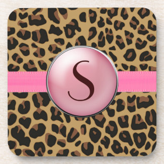 Jaguar Print Monogram Coaster