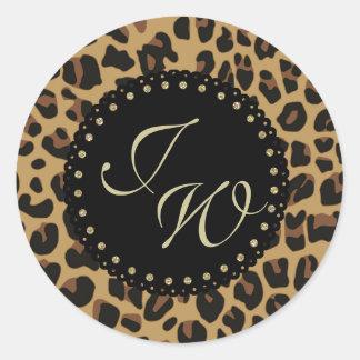 Jaguar Print Monogram Envelope Seal