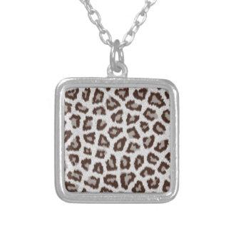 Jaguar Print Square Pendant Necklace