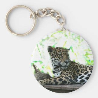 Jaguar que mira sobre verde dappled hombro llavero redondo tipo pin