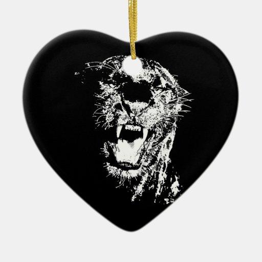 Jaguar que ruge ornamentos de navidad