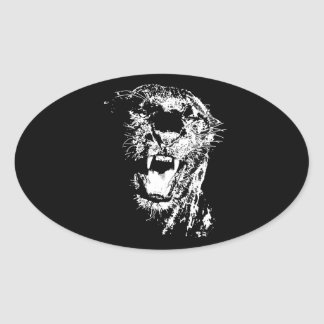 Jaguar que ruge pegatina ovalada