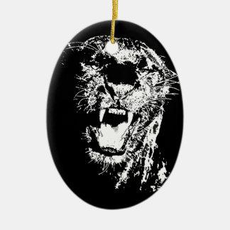 Jaguar Roaring Ceramic Ornament