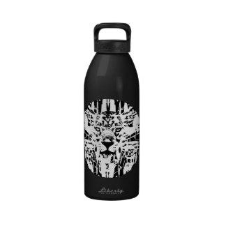 Jaguar Scribble Circle Design Water Bottles