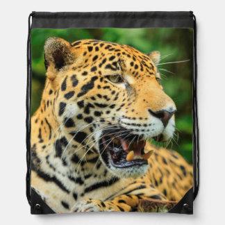 Jaguar shows its teeth, Belize Drawstring Backpack