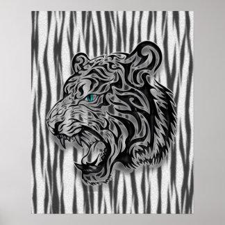 Jaguar Snow Leopard Panther Abstract Poster