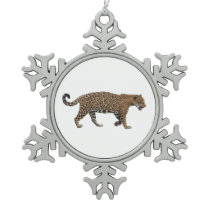 Jaguar Snowflake Pewter Christmas Ornament