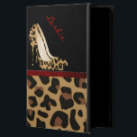 "Jaguar Stilettos iPad Air 2 Case Stand<br><div class=""desc"">Stylish iPad Air 2 case, with built in stand and graphics of a spotted brown and black colored jaguar fur pattern, on the bottom, with a solid black on the top, of the case. Graphics of a red satin looking ribbon runs across the middle and a fashionable pair of jaguar...</div>"