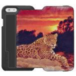 Jaguar suramericano que descansa en la puesta del funda cartera para iPhone 6 watson
