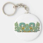Jaguar-turquesa y oro mayas llaveros personalizados