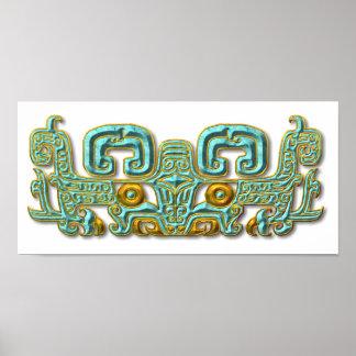 Jaguar-turquesa y oro mayas poster