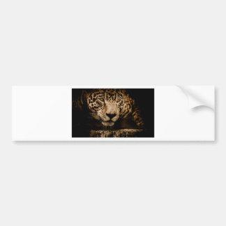 Jaguar Water Stalking Eyes Menacing Fearsome Male Bumper Sticker