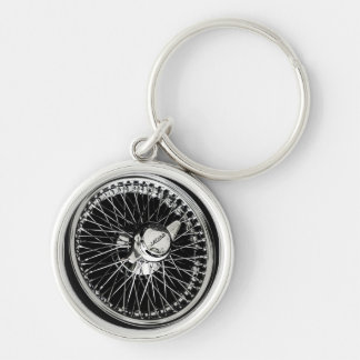 Jaguar Wheel Silver-Colored Round Keychain
