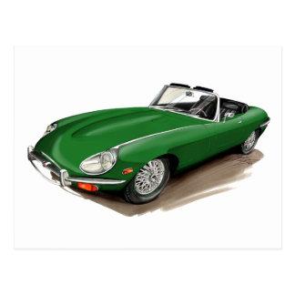 Jaguar XKE Green Car Postcard