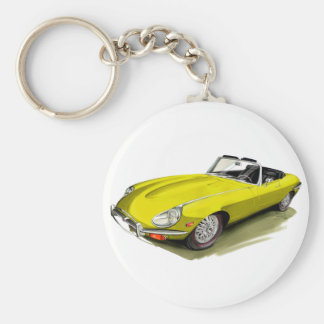 Jaguar XKE Yellow Car Keychain