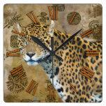 Jaguar y reloj de pared maya de la fauna de las ru
