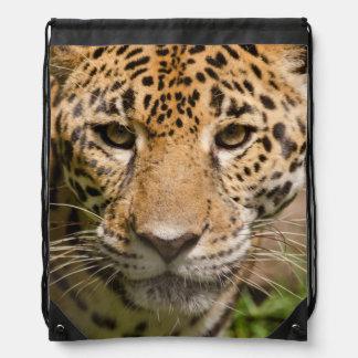 Jaguarclose-up of face drawstring backpack