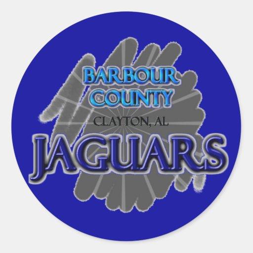 Jaguares de la High School secundaria del condado Pegatina Redonda