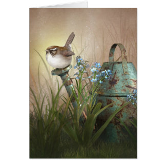 """Jaguarwoman's """"Indian Summer Garden With Wren"""" Card"""