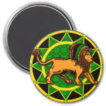 Jah King Dredlock Lion 3 Inch Round Magnet