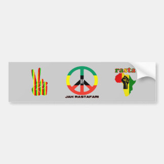 Jah Rastafari Peace Sign Selassie I Bumper Sticker