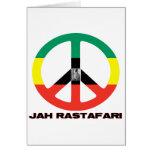 Jah Rastafari Peace Sign Selassie I Greeting Card