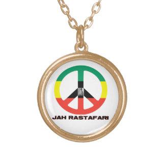 Jah Rastafari Peace Sign Selassie I Round Pendant Necklace