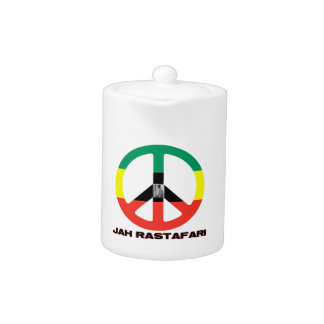 Jah Rastafari Peace Sign Selassie I Teapot