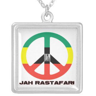Jah Rastafari Peace Sign Silver Necklace