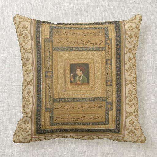 Jahangir que lleva a cabo una imagen de Madonna, i Cojines