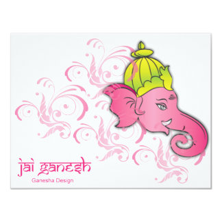 Jai Ganesh Elephant Designs Personalized Invitation