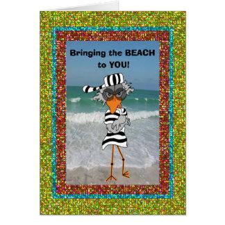 Jailbird on the beach. card
