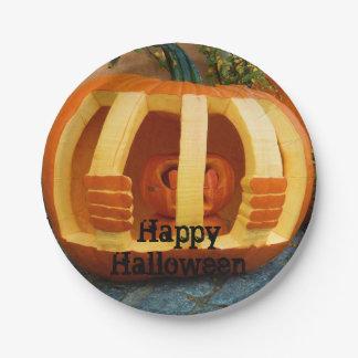 Jailed Pumpkin Halloween Paper Plate