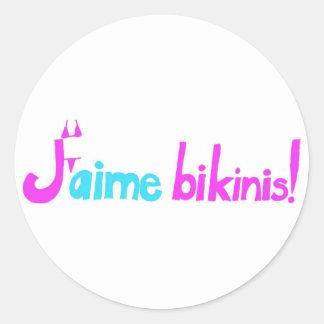 J'aime bikinis! round stickers