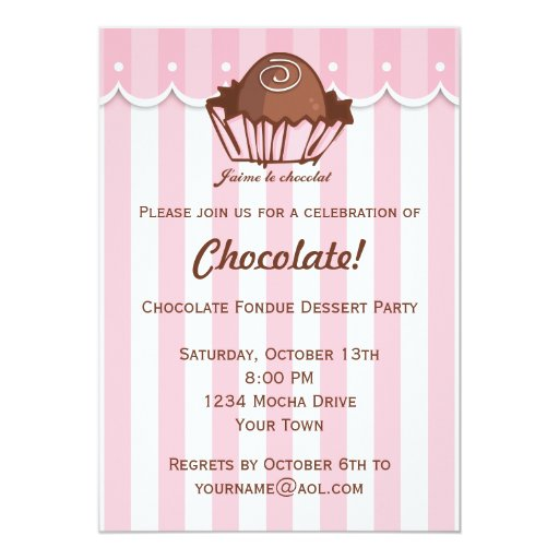 J'aime Chocolat 5x7 Paper Invitation Card