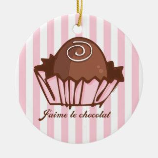 J'aime Chocolat Double-Sided Ceramic Round Christmas Ornament