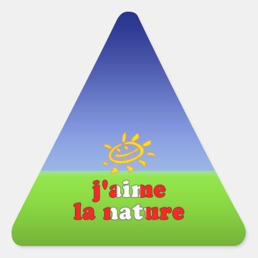 J'aime La Nature I Love Nature in Canadian Triangle Sticker