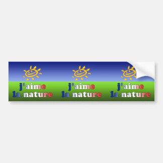 J'aime La Nature I Love Nature in French Bumper Sticker