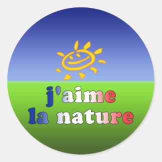 J'aime La Nature I Love Nature in French Classic Round Sticker