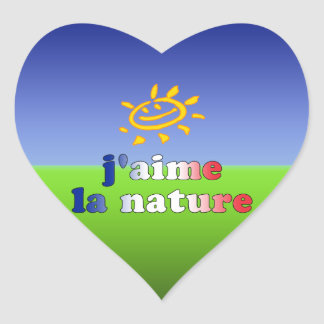 J'aime La Nature I Love Nature in French Heart Sticker